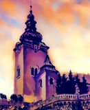 Catholic church building, architectural dominant of the city, graphic from painting. Royalty Free Stock Image