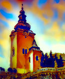 Catholic church building, architectural dominant of the city, graphic from painting. Stock Image