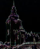Catholic church building, architectural dominant of the city, graphic from painting on black background. Stock Photos