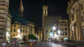 Catholic Church called `Complesso di San Firenze` timelapse in the square called `Piazza di S. Firenze` at night. Catholic Church called Complesso di San Firenze stock footage