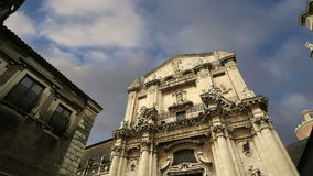Catholic church of Catania. Sicily, southern Italy. Baroque architecture. Unesco world heritage site stock video footage