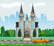 Catholic church cathedral with city skylines Royalty Free Stock Photo