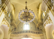 Catholic church, Cathedral of St. Jury. Catholic church, the dome, chandelier, design stock photography