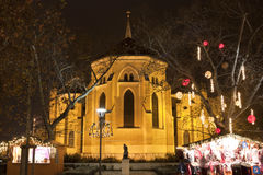 Catholic church at christmas time in Budapest Stock Images