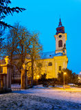 Catholic church in the Christmastime, Town of Postoloprty Stock Image