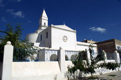 Catholic church with church tower in La Goulette,Tunisia Royalty Free Stock Images