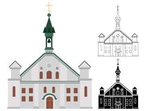 Catholic church for churchgoers and religious people line and shape art vector illustration