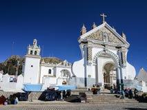 Catholic church in Copacabana. Great portal of white catholic church in Copacabana (Bolivia Royalty Free Stock Image