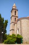 Catholic church exterior, bell tower. Sartene Royalty Free Stock Image