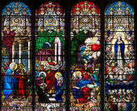 Catholic church four stained glass long windows. Catholic church subject-matter stained glass windows Stock Photo