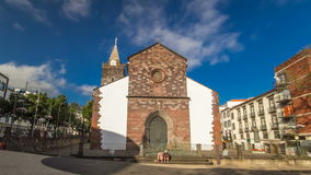 Catholic church in Funchal, Madeira island. Portugal timelapse hyperlapse with blue cloudy sky at sunny day 4K stock video