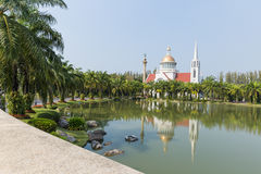 Catholic church. And garden in abac universiry thailand Royalty Free Stock Images