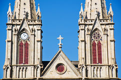 A Catholic church in gothic architecture style Stock Images