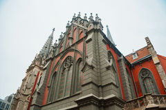 Catholic church in the Gothic style architecture Stock Photos