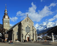 Catholic church in the Grand-Bornand, France. GRAND-BORNAND, FRANCE, FEB 26 : catholic church in the Grand-Bornand, France, on February 26 2012 Stock Image