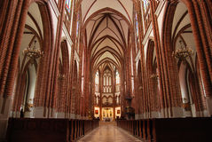 Catholic church inside. Polish catholic cathedral inside interior Stock Photo