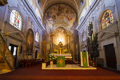 Catholic church interior view in Sibiu Stock Photos