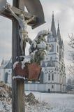 Catholic church and Jesus on crucifix Royalty Free Stock Photography