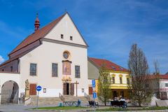 Catholic church Kostel Nanebevzeti Panny Marie in the town Kyjov, South Moravia, Czech republic.  Stock Photo