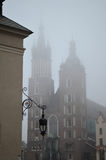 Catholic church in Krakow assignment files. Catholic church in Krakow on a foggy day Royalty Free Stock Photos