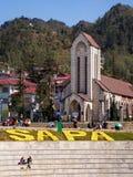 Catholic Church and Main Square, Sapa Town, Lao Cai, Vietnam Royalty Free Stock Photography