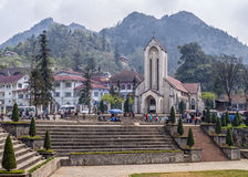 Catholic Church and market square in front at Sapa. Stock Photo