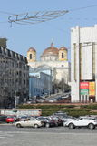 Catholic church in the metropolis Royalty Free Stock Image