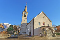 Catholic Church and Mountains in the City of Bad Ragaz Stock Photography