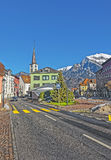 Catholic Church and Mountains in City of Bad Ragaz Royalty Free Stock Photography