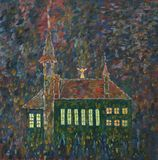 Catholic church at night. Oil painting royalty free illustration