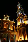 Catholic church at night in salta Stock Photo