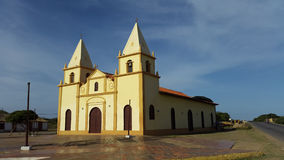 Catholic church , old colonial architecture in Falcón state Venezuela. Chuch antique blue sky  background Falcón State Venezuela Stock Image