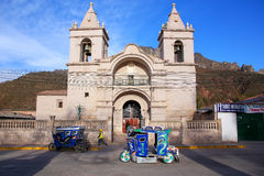 Catholic church at Plaza de Armas in Chivay, Peru Stock Photos