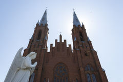 Catholic church. With sculpture of angel Royalty Free Stock Images