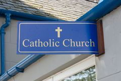 Catholic Church Sign. Outside a walk in prayer center stock photo