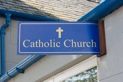 Catholic Church Sign. Outside a walk in prayer center Stock Photo