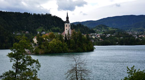 Catholic church situated on an island on Bled. Slovenia stock photos