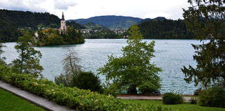 Catholic church situated on an island on Bled. Slovenia stock photo