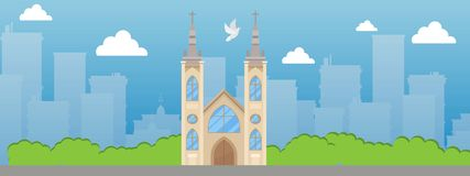 Catholic church with spire and stained glass windows banner vector illustration. Beautiful place in city. Catholic Roman. Christian temple. Old medieval royalty free illustration