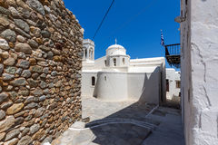 Catholic church and Square in the fortress in Chora town, Naxos Island, Greece Stock Image
