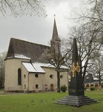 Catholic church St. Georg und Katharina and memorial in Traunstein. The text means Built by the association of disbanded soldiers Royalty Free Stock Photography
