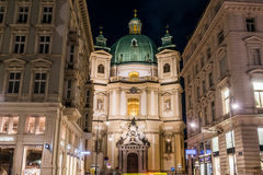 Catholic Church of St. Peter in Vienna during the Winter Stock Images