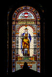 Catholic church stained glass window. Inside temple Royalty Free Stock Image