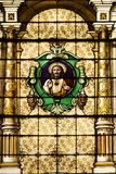 Catholic Church Stained Windows. Stained glass windows in a old catholic church Stock Photos