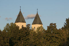 Catholic church steeples stock image