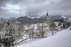 Catholic church, Switzerland. Catholic church, high on the mountains, Gruyere, Switzerland Stock Image