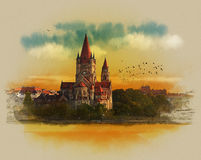 The Catholic Church in Vienna. Austria. Watercolor sketch. Drawing on old paper. Royalty Free Stock Photo