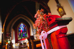 Catholic church with wedding decorations Royalty Free Stock Photo