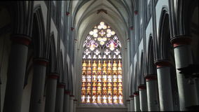 Catholic church window in 1080p stock video footage