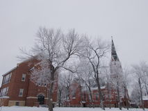 Catholic Church Winter Scene Stock Image